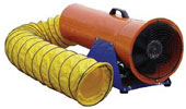 "8"" TPI Electric Powered Confined Space Axial Blower (1/3 Hp, 3.0 Amp, 1373 CFM @ Outlet)"