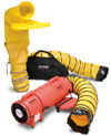 "Allegro 8"" Confined Space Plastic Axial Blower Ventilation System (1/3 Hp, AC or DC, 831 CFM @ Outlet)"