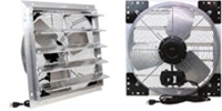 "(3-Speed) Shutter Mount Direct Drive Agricultural/Industrial Wall Exhaust Fan CFM Range: 880-4,874 (Sizes 12"" thru 24"")"