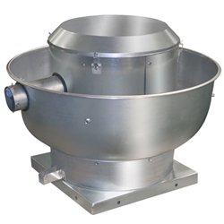 "Canarm Ltd. brand ALX-UD Direct Drive Centrifugal Upblast Roof or Sidewall Mount Exhaust Fan Restaurant & Gen. Applic. CFM Range: 400-3,725 @ 1/2"" S.P."