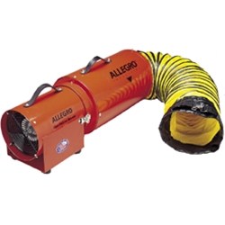 "Allegro 8"" Confined Space Steel COM-PAX-IAL Blower w/15' or 25' Duct (1/3 Hp, AC or DC, 778 CFM @ Outlet)"