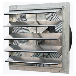 "J&D Manufacturing brand Model VES (Single or Variable Speed) Shutter Mount Direct Drive Wall Exhaust Fan CFM Range: 630-6,800 (Sizes 10"" thru 30"")"