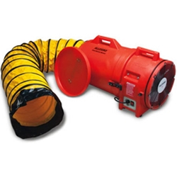 "Allegro 12"" Confined Space Plastic Axial Blower w/15' or 25' Duct (1 Hp, AC, 1842 CFM @ Outlet)"