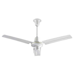 "VES Model #INDA483S3L White Heavy Duty Commercial Ceiling Fan (48"" Downflow , 21,000/11,200/6,200 CFM, 5 Year Warranty, 120V, 3-Speed Pull Chain)"