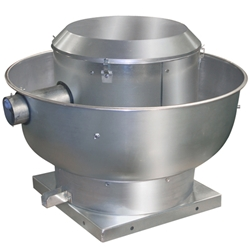 "Canarm Ltd. brand Model ALX-UB Belt Drive Centrifugal Up Blast Roof or Sidewall Mount Exhaust Fan Restaurant & Gen. Applic. CFM Range: 750-5,600 @ 1/2"" S.P."
