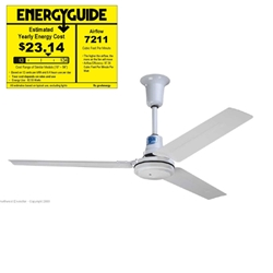 "Northwest Envirofan Model #190C-7 White Industrial/Agricultural/Severe Service Variable Speed Ceiling Fan (56"" Reversible, 34,500 CFM, 120V)"